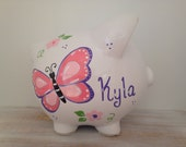 Personalized Hand Painted Piggy Bank With Butterfly Theme