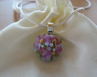 Pendant Necklace, Flower Necklace, Handmade Lampwork, Sterling Chain, Flowers, Floral Necklace, Pink Purple Flowers, Light Blue Buds