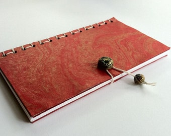 Red and Gold Marbled Journal
