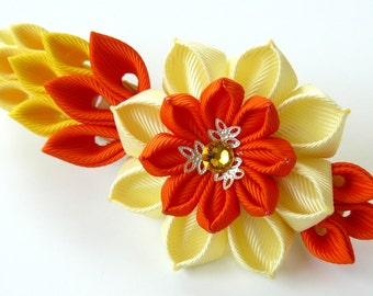 Kanzashi fabric flower french barrette. Floral french clip. Yellow flower barrette. Handmade yellow french barrette. Kanzashi barrette.
