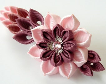 Kanzashi fabric flower french barrette. Floral french clip. Pink flower barrette. Handmade pink french barrette. Pink kanzashi barrette.