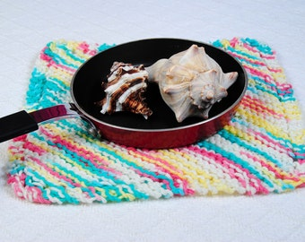 Knitted Dishcloth, Bright Springtime Kitchen Linens, Ready to Ship