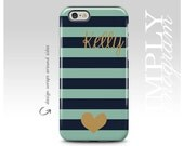 Navy Blue and Teal Stripes iPhone Case, Personalized Cover, iPhone 6 Case, Gold Heart, iPhone 5s Case, Monogram iPhone Case