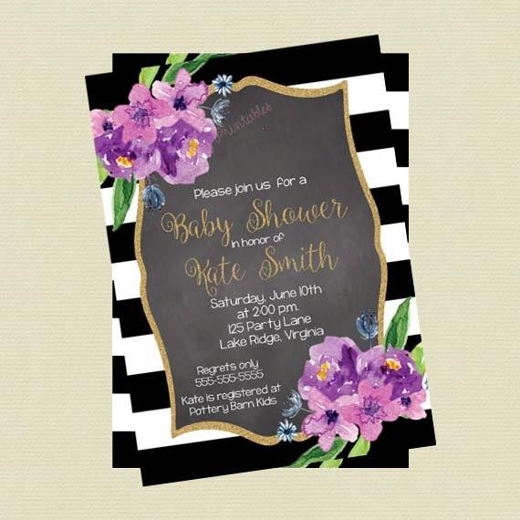 Baby Shower Invitation Black And White Stripes Purple