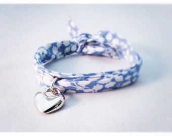 Blue Liberty of London, fabric wrap bracelet with heart charm