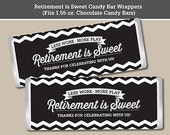 Retirement Candy Bar Wrapper, Printable Digital File, Fits 1.55 oz. Chocolate Candy Bar, Chevron Design in Black