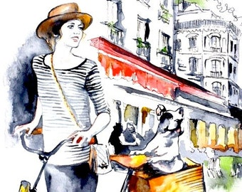 Parisian Girl and Frenchie Print from Original Watercolor Illustration - Travel Paris Watercolor Art Print