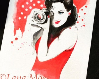 Camera Girl Fashion Art Print - Watercolor Painting - Wall Art - Vintage Inspired Fashion - Illustration by Lana Moes