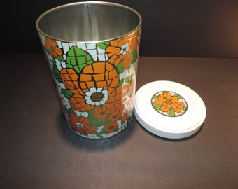 Mid Century Canister Orange Canister Mosaic Pattern Canister  Vintage Tin Covered Tin Retro Canister Coffee Canister Vintage Kitchen Tin