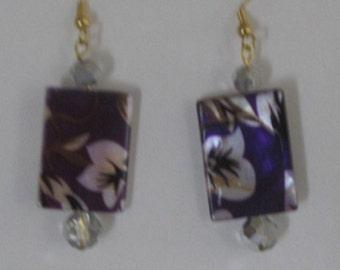 Purple Floral Earrings
