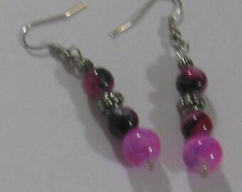 Pink and Purple Dangle Earrings