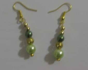 Pearl Green and Gold Plate Earrings