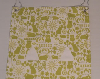 "The ""Pig""-Out Pouch.. Lime Green Guinea pigs pattern on white with 2 holes Hay Bag"