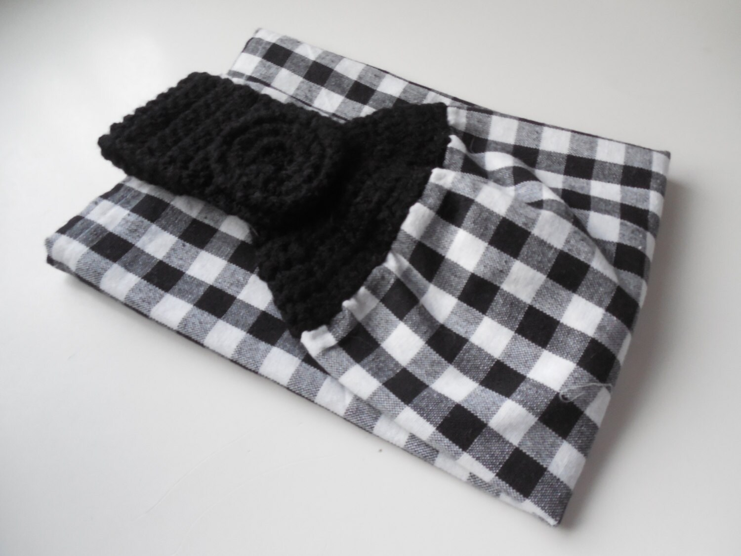 Black and White Hanging Kitchen Towel Crochet Black Top