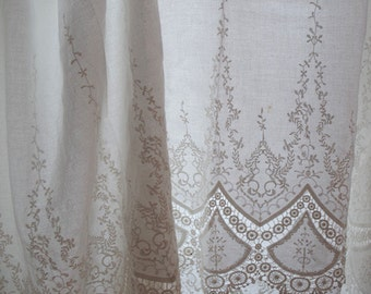 off white cotton Lace fabric, retro lace fabric with scalloped lace border, bridal lace fabric, embroidered cotton lace fabric