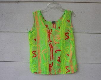 80s 90s lime green geometric summer tank top