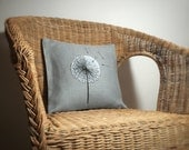 Dandelion Cushion - Hand Painted and stitched onto Linen with Feather Pad