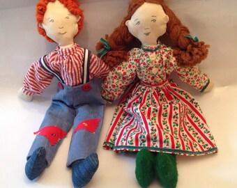 2 Vintage Dolls Hand Made Soft Sculpted  Dolls
