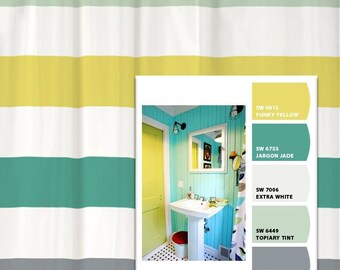 shower curtain vintage bath inspired stripes standard and long lengths 70 74 78