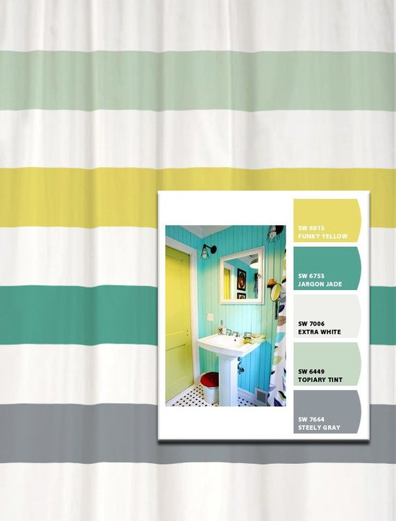 Shower Curtain Vintage Bath Inspired Stripes Standard and Long Lengths ...