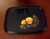 Stunning Black Couroc Collectible Serving Tray/Plate/Platter! Orange and Yellow Poppy Flower design with Gold Inlay
