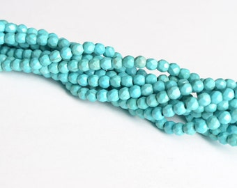 Turquoise Howlite Faceted Bead Strand, 4 mm - 1 strand