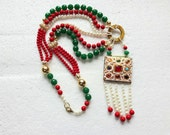 NEW!! Statement Pendant Necklace / Strand Necklace / Layered Necklace / Kundan pendant - White
