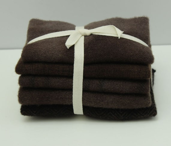 Teddy Bear Brown Hand Dyed Wool Bundle For Rug Hooking And