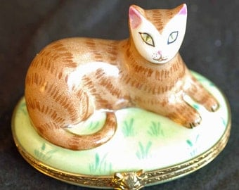 Tiffany Limoges Hand Painted Cat Box