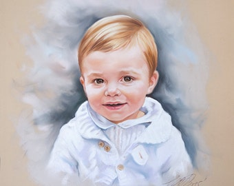 Pastel portrait, handmade children portraits