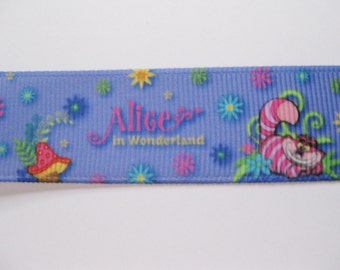 Alice In Wonderland Cartoon Style Grosgrain Ribbon  1 Yard