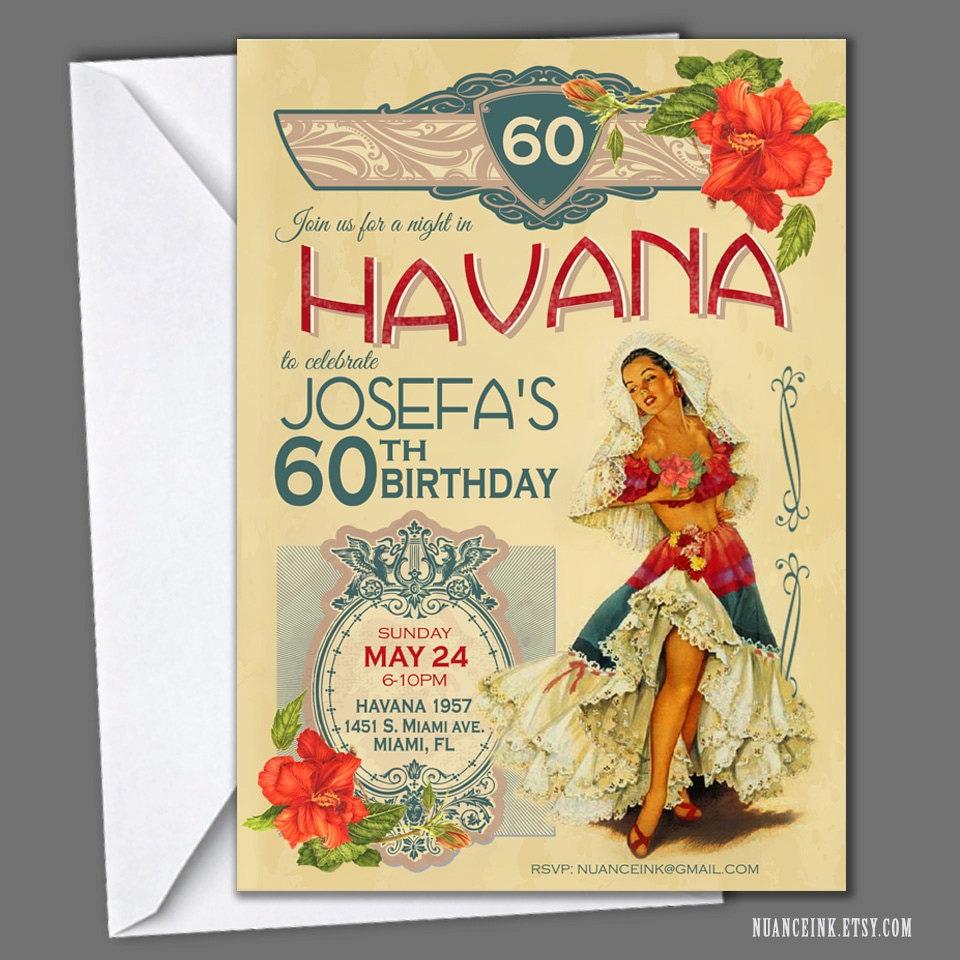 Image Gallery havana nights invitations