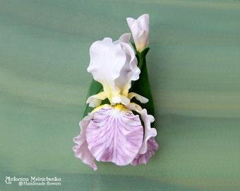 Brooch Iris - Polymer Clay Flowers