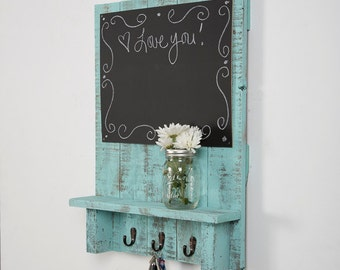 Entry Way Message Center with Chalkboard, Hooks, and Display Shelf