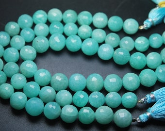8 Inch Strand,Finest Quality AMAZONITE Faceted Faceted Round BALLS Beads,9-10mm size,