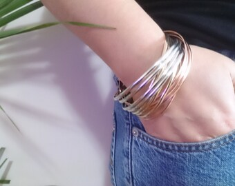 Metal stacking bracelet, gift woman bangle bracelet stainless bangle metal gold rose gold color bracelet limited gift ideas for her