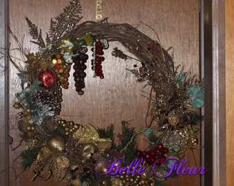 Woodland Holiday wreath..an abundance of color and texture
