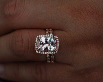 Morganite Wedding Ring Set in 14k Rose Gold with Morganite Cushion 11x9mm and Diamond Milgrain Band