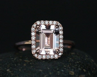 Morganite Emerald Cut Engagement Ring in 14k Rose Gold with Morganite 9x7mm and Diamond Halo