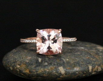Cushion 8mm Pink Morganite Engagement Ring in 14k Rose Gold with Diamond Half Eternity Band