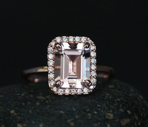 morganite emerald cut engagement ring in 14k gold with