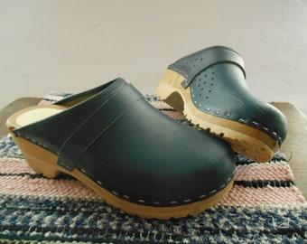 Vintage Swedish clogs Navy blue leather wood clogs Size EU 36 Women's Kid's wooden shoes