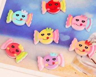 15pcs Mixed colors DIY Decoration Cute Candy Cartoon flatback Resin Kawaii cabochon