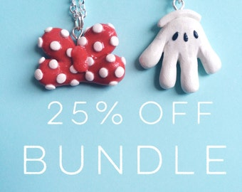 Mickey and Minnie Inspired Necklaces Bundle Save 25%