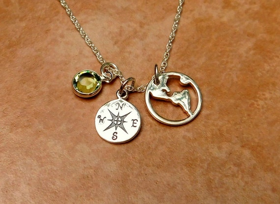 Sterling silver world and compass jewelry, graduation gift, birthstone necklace, travel jewelry, inspiration necklace