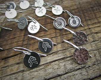 Small Sterling Silver Earrings  - With Dog Paws, Om symbol, Arrows or Owls - Free Shipping Available