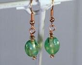 grean lampwork bead earrings - gift for her