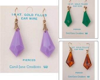 1960s Carol-Jane Earrings Purple Faux Jeweled Dangle Vintage