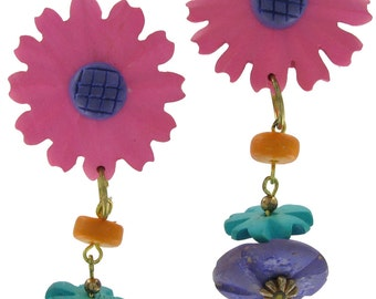 1980s Pink Purple Flower Dangle Clip Earrings Vintage