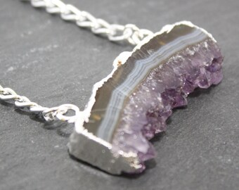 Amethyst Slice Necklace, Raw Amethyst Jewellery, Rough Cut Amethyst Pendant, February Birthstone, Amethyst Stalactite Necklace, Gift for Her